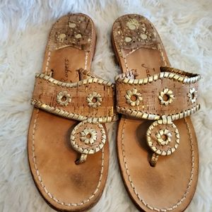 Jack Roger's cork and gold sandals thongs